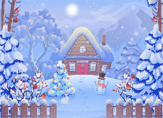 Paisaje de bosque de niebla de invierno con casa de madera, montañas, muñeco de nieve, valla, árbol de navidad, conejo, camachuelo, sol. ilustración de dibujo vectorial en estilo de dibujos animados. tarjeta de navidad. Vector Premium