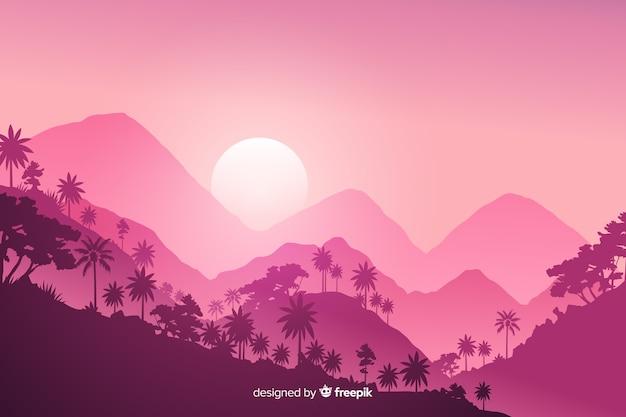 Paisaje de bosque tropical rosa en diseño plano vector gratuito