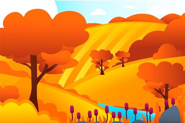 Paisaje de campo con colinas vector gratuito