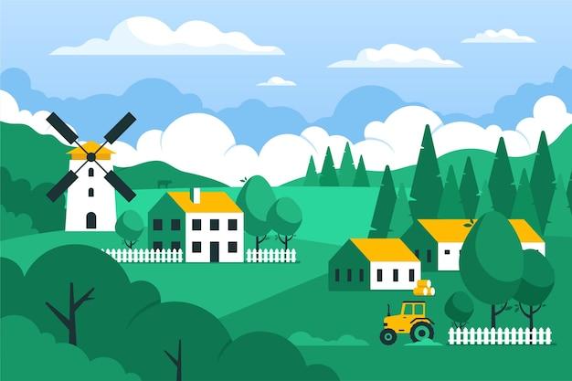 Paisaje de campo con molino de viento vector gratuito
