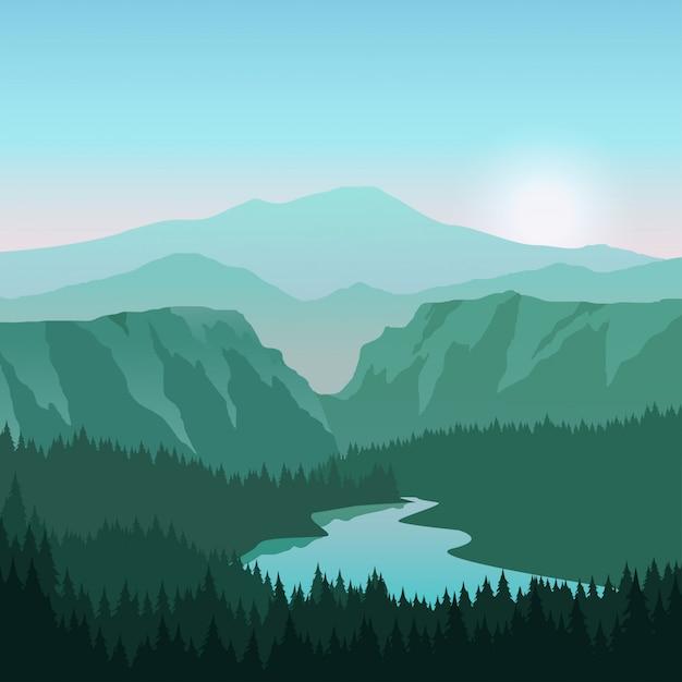 Paisaje del cañón con río y amanecer Vector Premium