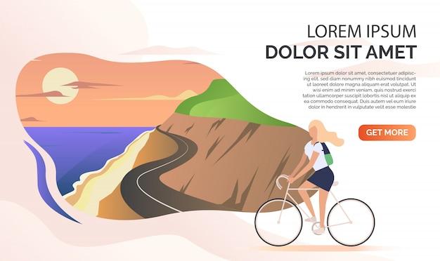 Paisaje, carretera de montaña, océano, mujer montando bicicleta, texto de muestra vector gratuito
