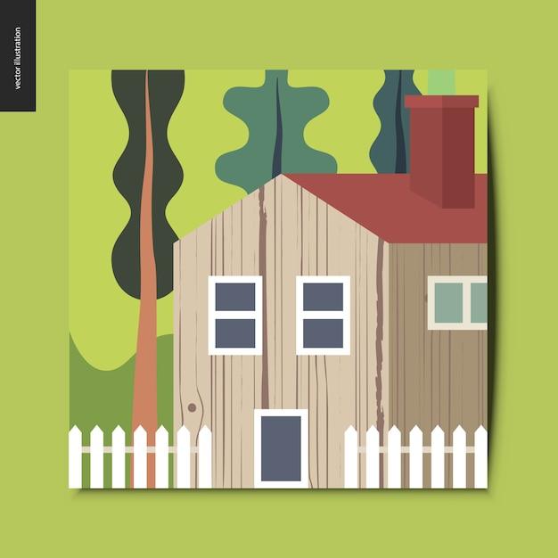 Paisaje con una casa de madera con un techo rojo rodeado de árboles y una cerca blanca en el primer plano, paisaje de verano verde, postal de verano, ilustración vectorial Vector Premium