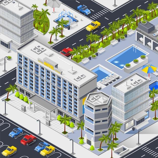 Paisaje de la ciudad con hoteles, piscinas y aparcamiento. vector gratuito