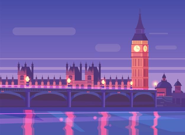 Paisaje de la ciudad de noche tráfico del puente de westminster en la noche, londres, inglaterra. Vector Premium
