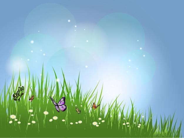 paisaje con mariposas vector gratis