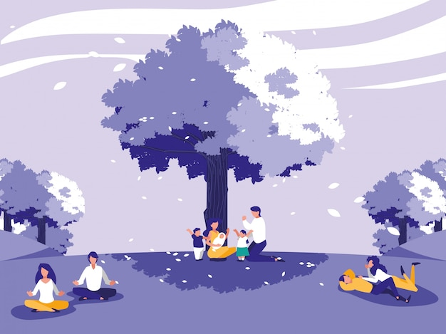 Paisaje creativo con árboles y personas. Vector Premium