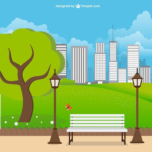 Paisaje de parque urbano Vector Gratis