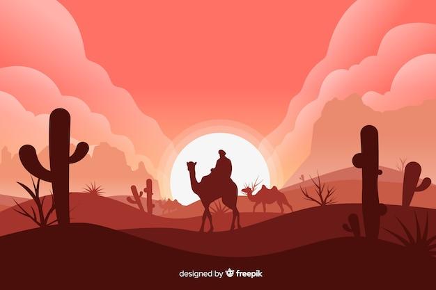 Paisaje desértico con hombre en camello vector gratuito
