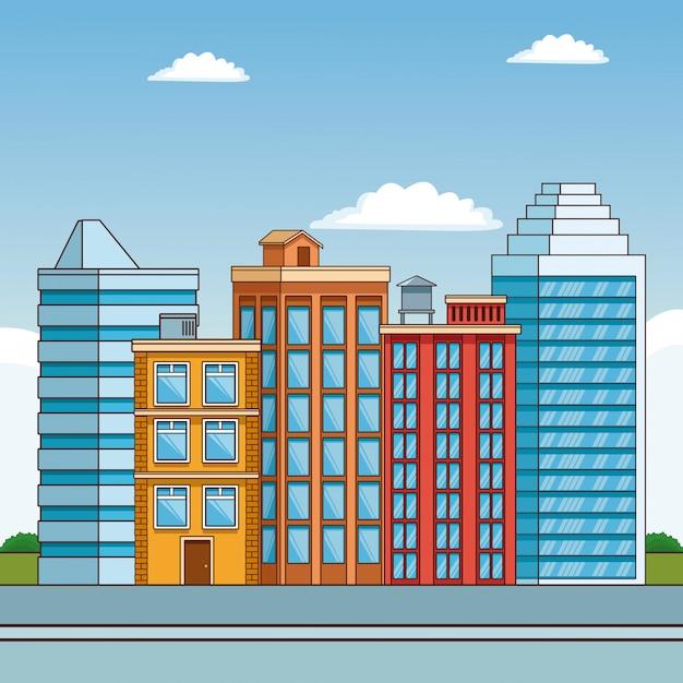 Paisaje de dibujos animados edificios de la ciudad ...