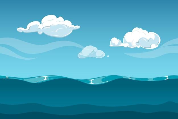 Paisaje De Dibujos Animados De Mar U Océano Con Cielo Y Nubes