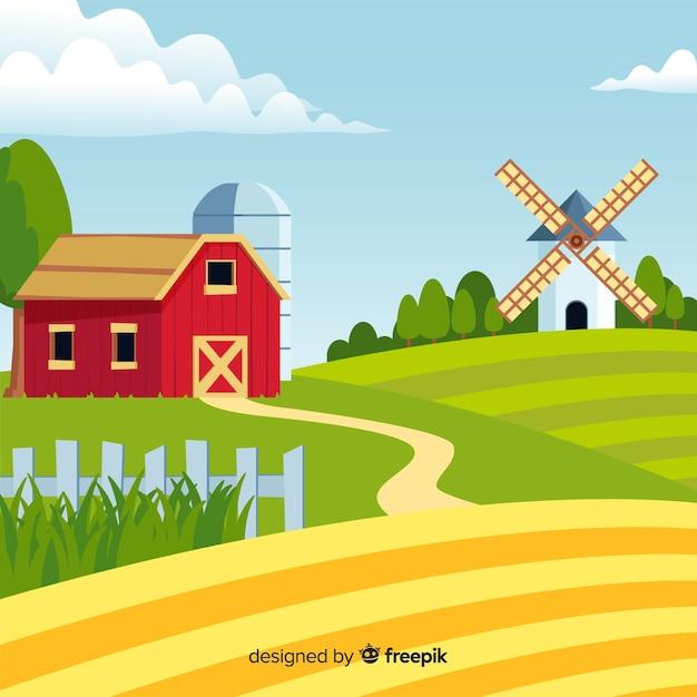 Paisaje de granja en diseño plano vector gratuito