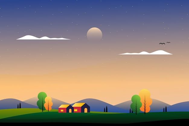 Paisaje hermoso campo con ilustración de montaña y cielo Vector Premium