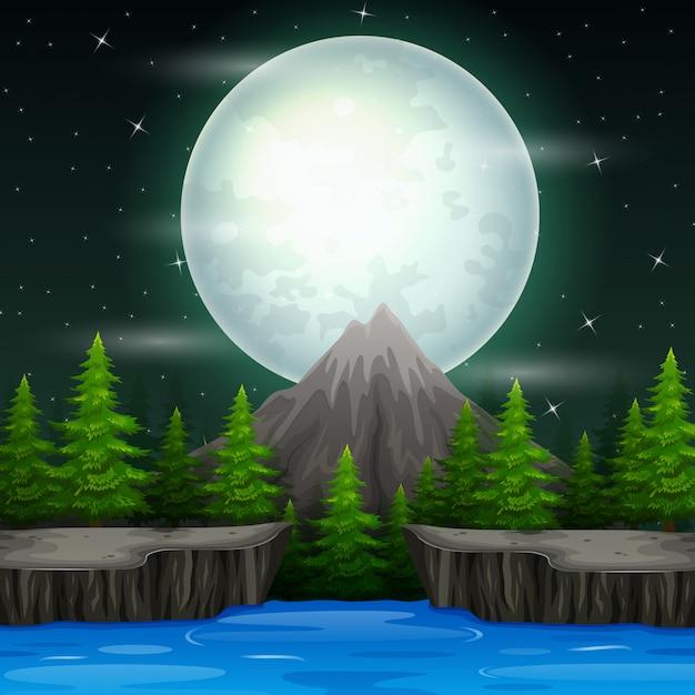 Paisaje hermoso de la naturaleza en el fondo de la noche Vector Premium