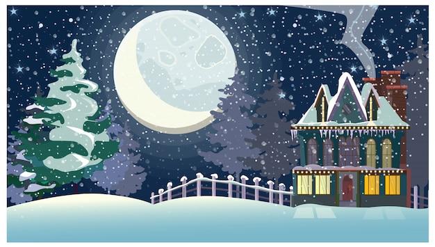 Paisaje invernal con casa de campo y gran luna llena. vector gratuito