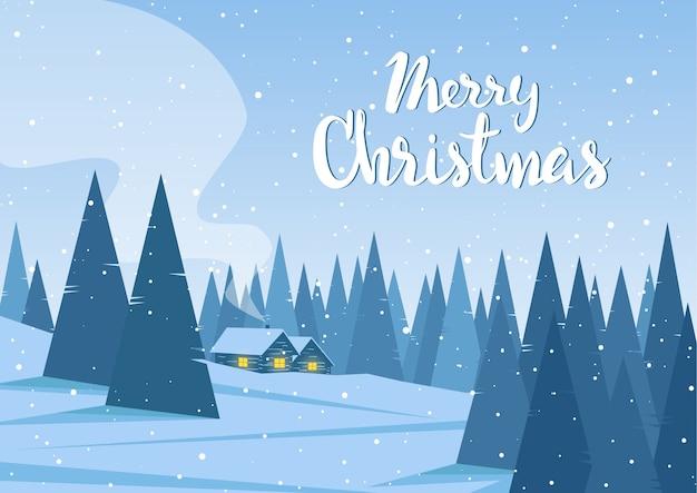 Paisaje invernal con dos casas en el bosque y letras manuscritas de feliz navidad. Vector Premium