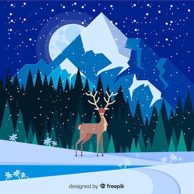 Paisaje invernal vector gratuito