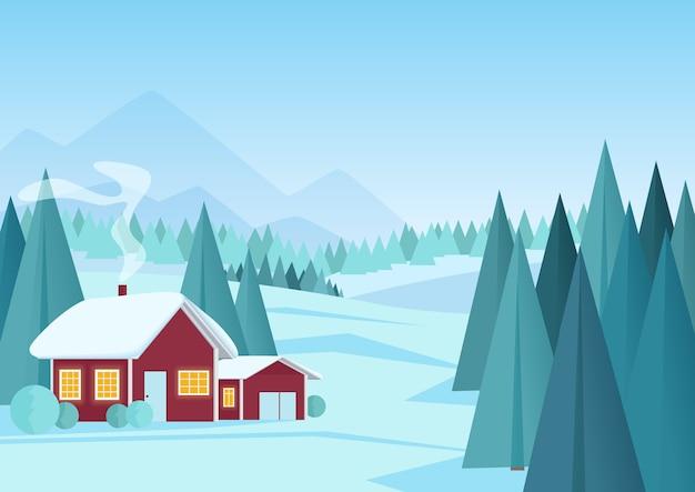 Paisaje de invierno con pequeña casa roja en bosque de pinos. paisaje de invierno de dibujos animados Vector Premium