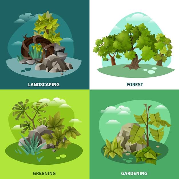 Paisaje jardinería concepto de 4 iconos planos vector gratuito