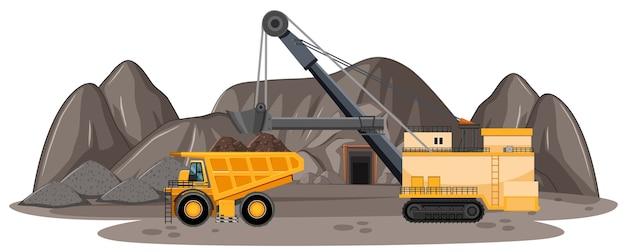 Paisaje de mina de carbón vector gratuito