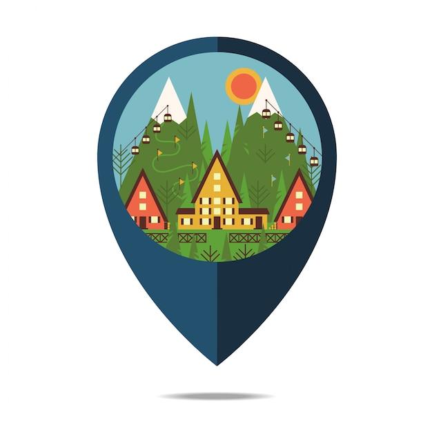 Paisaje de montaña vacaciones de vacaciones y resort de montaña Vector Premium