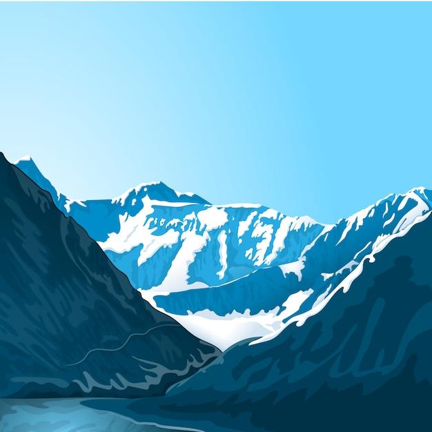 Paisaje de montaña Vector Premium