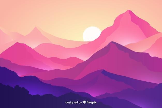 Paisaje de montañas con montañas y puesta de sol vector gratuito