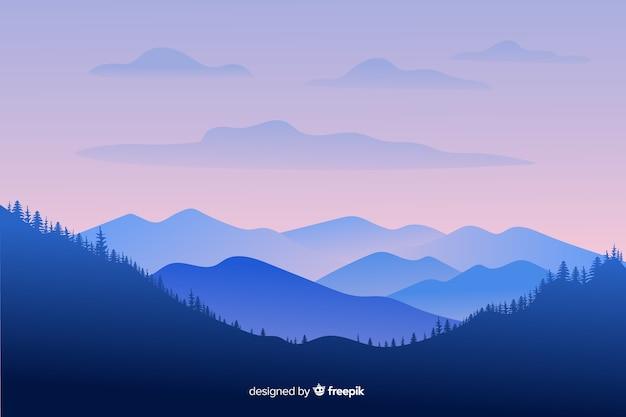 Paisaje de montañas de tiro largo vector gratuito