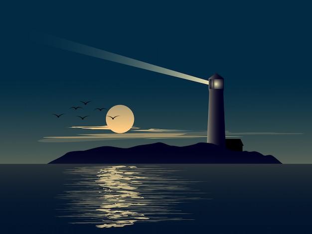 Paisaje natural con faro en la pequeña isla y luna llena. Vector Premium