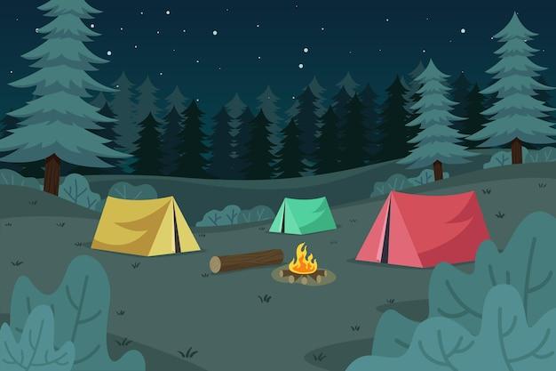Paisaje natural de la zona de acampada vector gratuito