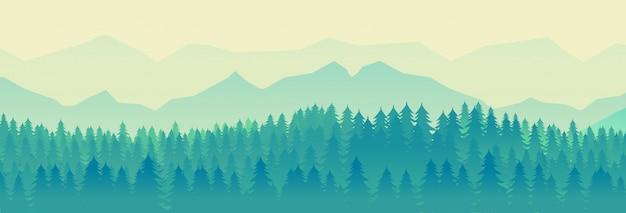 Paisaje de naturaleza verde Vector Premium