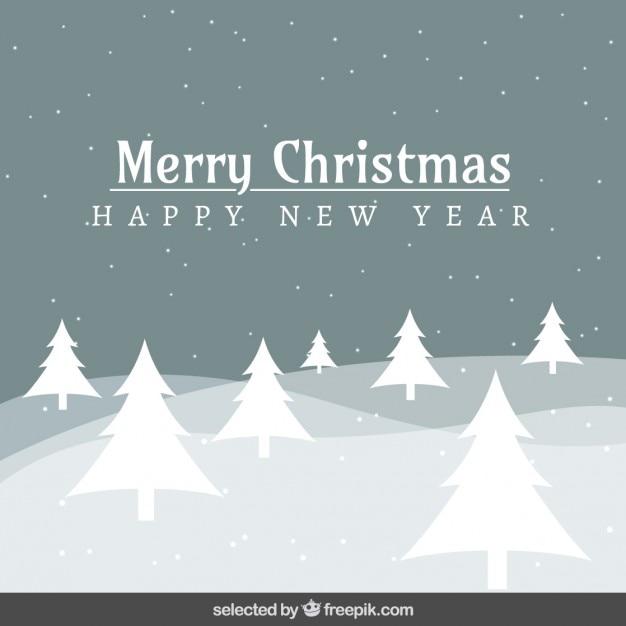 Paisaje nevado tarjeta de navidad descargar vectores gratis - Paisaje nevado navidad ...