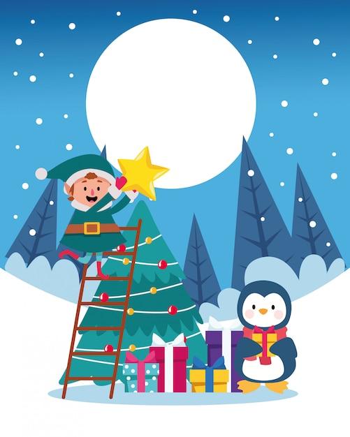 Paisaje de nieve de invierno escena navideña con ilustración de árbol y pingüino Vector Premium