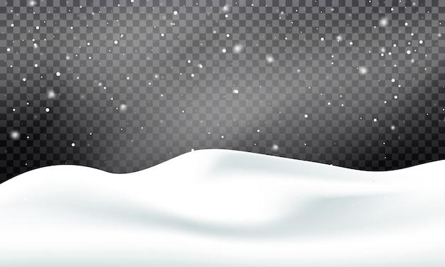 Paisaje de nieve en invierno. nevado con ventisca y nieve Vector Premium