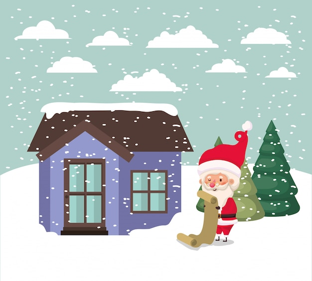 Paisaje de nieve con linda casa y escena de santa claus vector gratuito