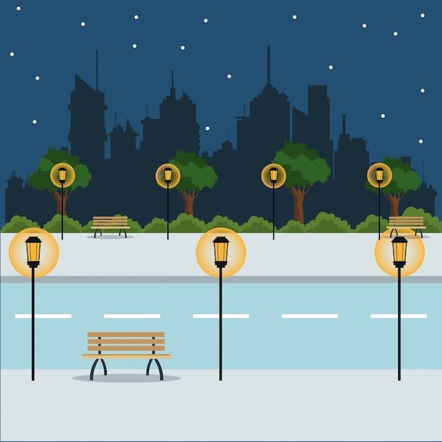 Paisaje noche calle ciudad parque brench Vector Premium