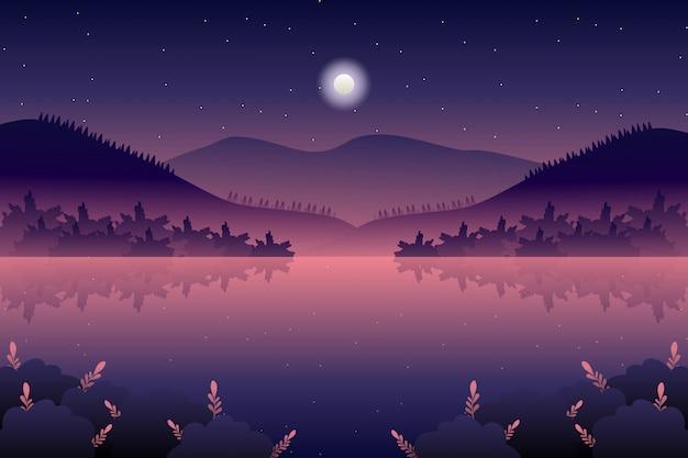 Paisaje nocturno con mar y cielo ilustración Vector Premium