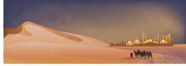 Paisaje panorámico del viaje árabe con camellos por el desierto con mezquita, dunas de arena y polvo Vector Premium