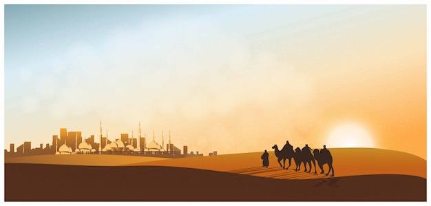 Paisaje panorámico del viaje árabe con camellos por el desierto con mezquita, viajero con camellos, dunas de arena, polvo y crepúsculo. Vector Premium