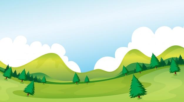 Un paisaje de parque natural. vector gratuito