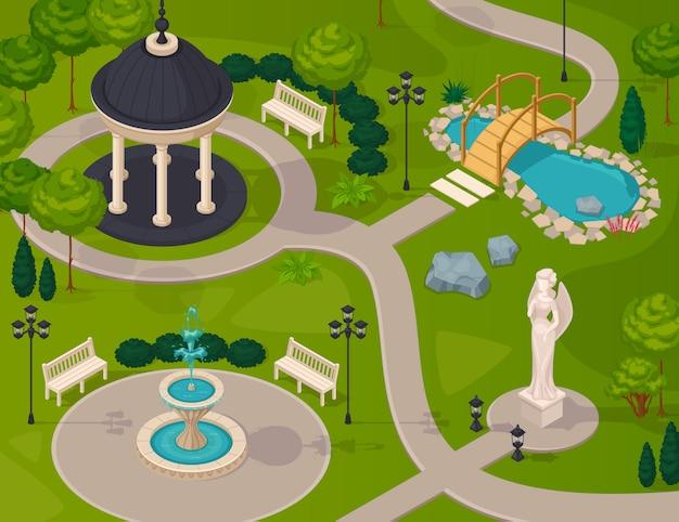 Paisaje del parque vector gratuito