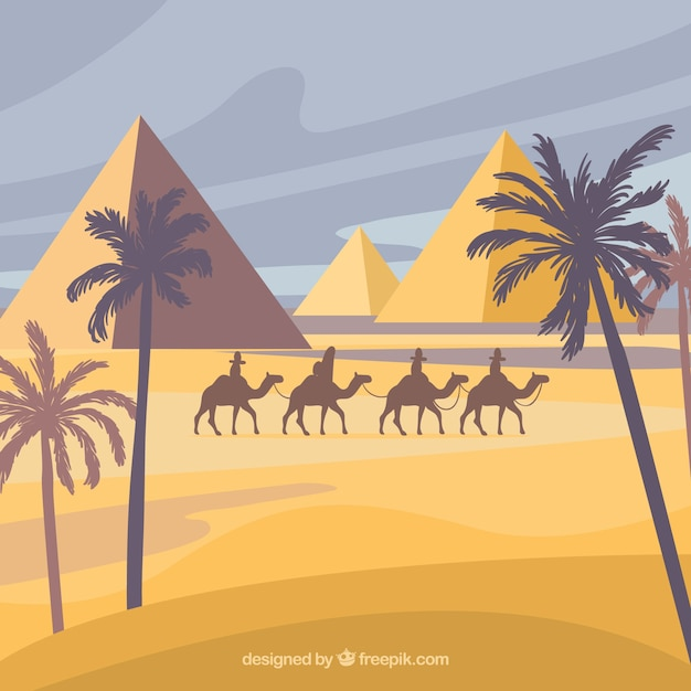 Paisaje con pirámides egipcias y caravana de camellos vector gratuito