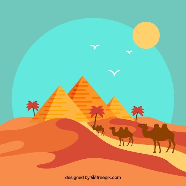 Paisaje plano con piramides de egipto y caravana de camellos vector gratuito
