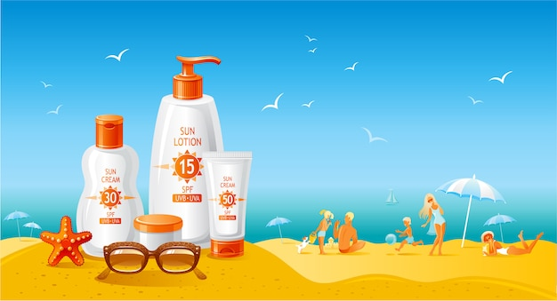 Paisaje de playa sol con botellas de crema de protección solar. anuncio de verano del producto uv protector solar. loción cosmética para el cuidado de la piel. fondo plano estilo de vida saludable. Vector Premium