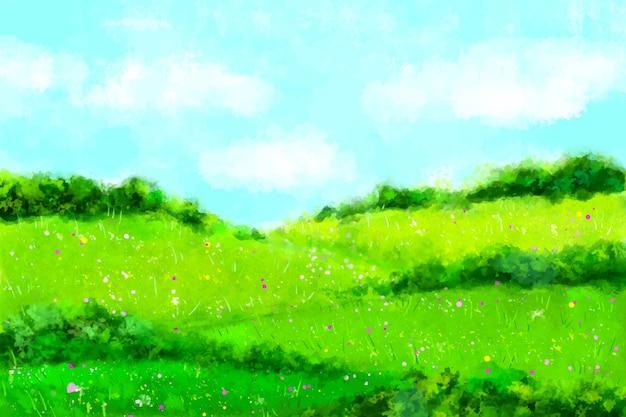 Paisaje de primavera acuarela con hierba y cielo vector gratuito