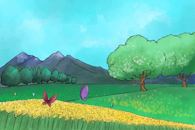 Paisaje de primavera acuarela vector gratuito