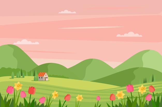 Paisaje de primavera con flores y pasto vector gratuito