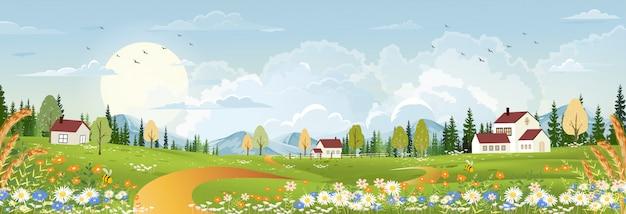 Paisaje de primavera con naturaleza rural pacífica en primavera con tierra de hierba silvestre, casa de campo, montaña, sol, cielo azul y nubes Vector Premium