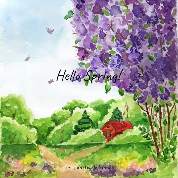 Paisaje primaveral vector gratuito
