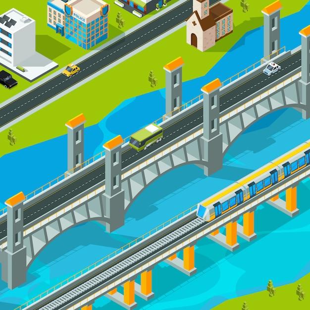Paisaje del puente de la ciudad. edificio pasarela peatonal coche paso elevado viaducto paisaje isométrico Vector Premium